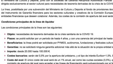 Línea COVID19 para el sector Cultural